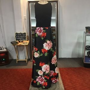 NWT! Black, Pink and Red Floral Prom Dress